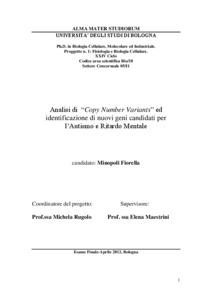 Analisi di copy number variants ed identificazione di for Tesi autismo e gioco