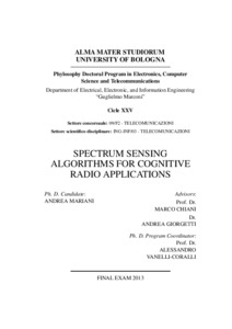 spectrum sensing in cognitive radio thesis Combined soft hard cooperative spectrum sensing in cognitive radio networks by noor salout a thesis submitted to the faculty of graduate studies through the.